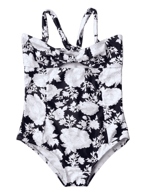 outfits Back Tied Cut Out Floral Kid Swimwear - BLACK 6T Mobile