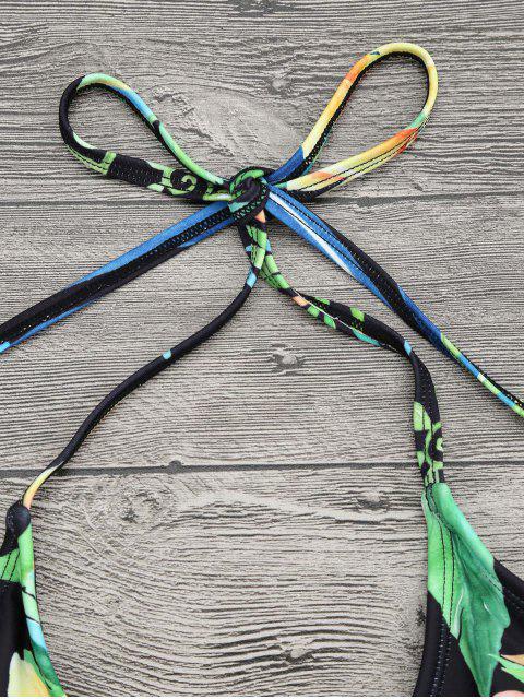 new Plus Size Tropical Floral Wrap Swimsuit - COLORMIX 2XL Mobile