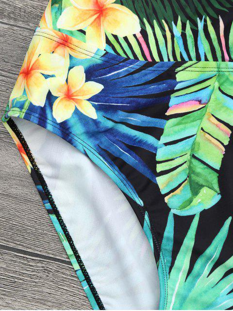 hot Plus Size Tropical Floral Wrap Swimsuit - COLORMIX 3XL Mobile