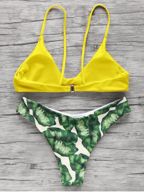 shop Spaghetti Straps Palm Tree Bikini - YELLOW L Mobile