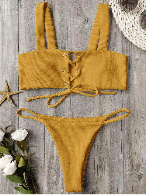 buy Ribbed Texture Lace Up Bathing Suit - GINGER L Mobile