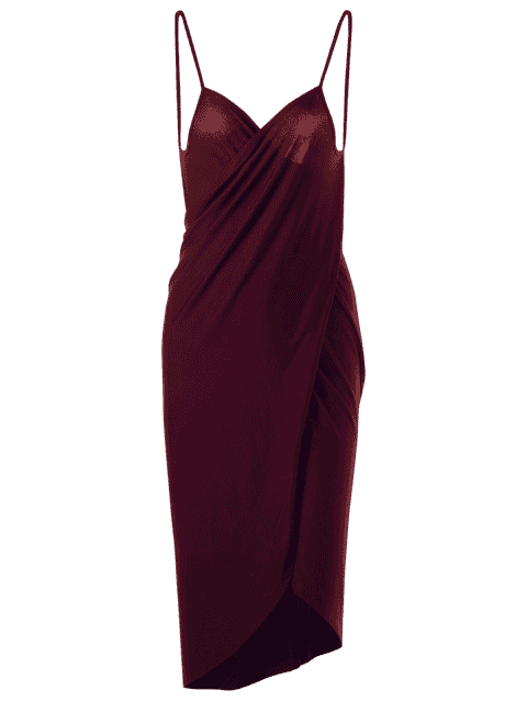 chic Plus Size Beach Cover-up Wrap Dress - WINE RED 3XL Mobile