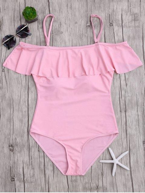 Maillots de bain une-pièce épaules dénudées à volants - ROSE PÂLE S Mobile