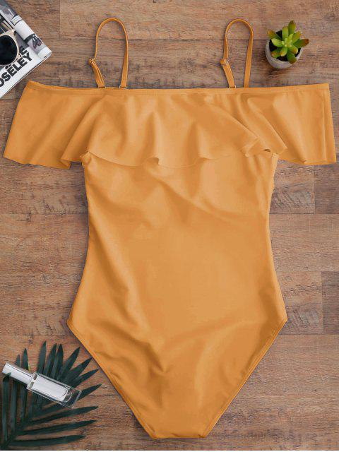 buy Off The Shoulder Flounced One-Piece Swimwear - EARTHY M Mobile