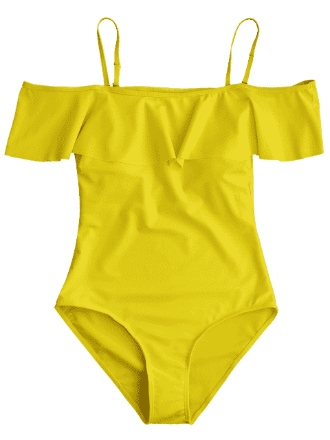 fashion Off The Shoulder Flounced One-Piece Swimwear - YELLOW M Mobile