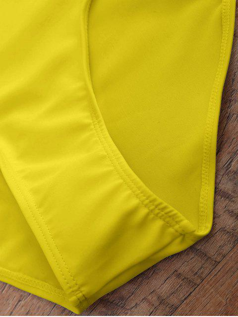 chic Off The Shoulder Flounced One-Piece Swimwear - YELLOW S Mobile