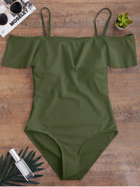 fancy Off The Shoulder Flounced One-Piece Swimwear - ARMY GREEN L Mobile
