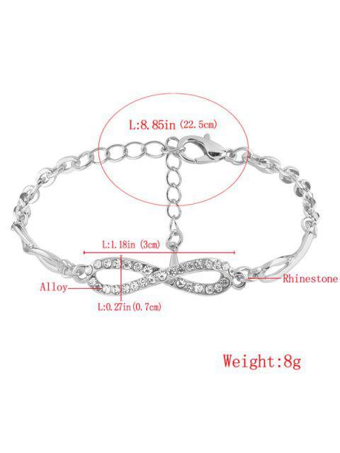 online Rhinestone Infinite 8 Chain Bracelet - SILVER  Mobile