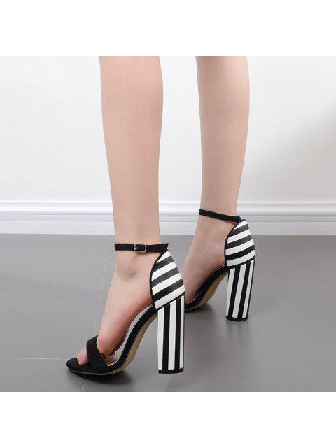 best Striped Pattern Two Tone Sandals - BLACK WHITE 37 Mobile