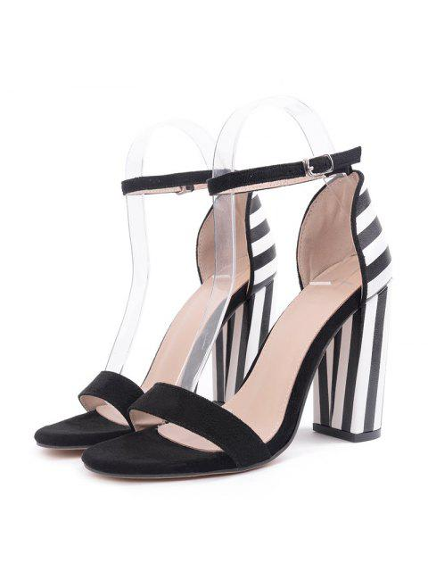 online Striped Pattern Two Tone Sandals - BLACK WHITE 38 Mobile