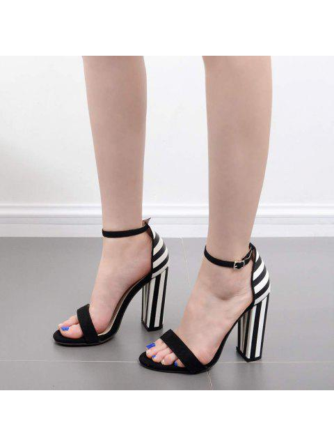 new Striped Pattern Two Tone Sandals - BLACK WHITE 39 Mobile