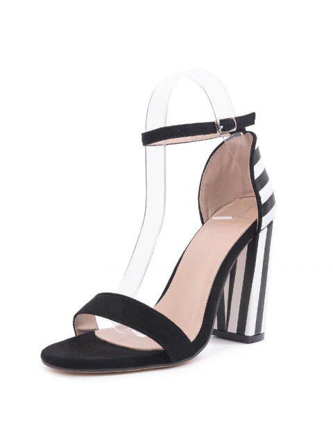 hot Striped Pattern Two Tone Sandals - BLACK WHITE 40 Mobile