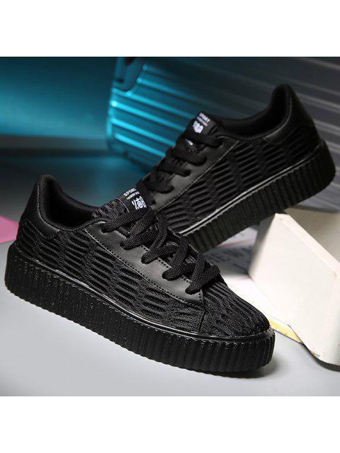 sale Tie Up Mesh Breathable Athletic Shoes - BLACK 37 Mobile
