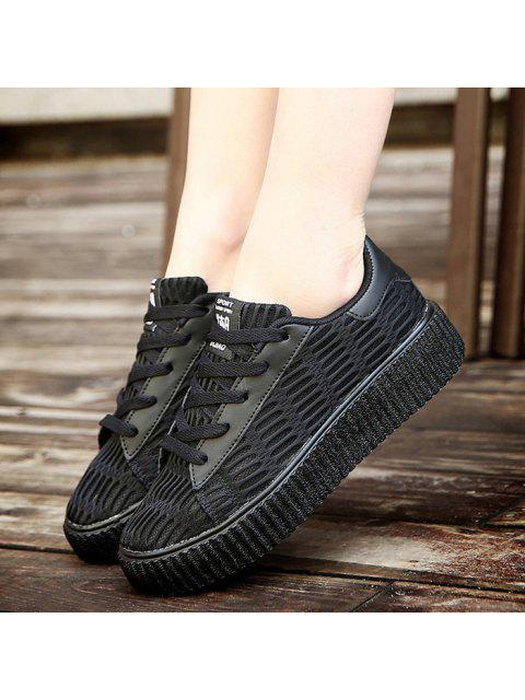 affordable Tie Up Mesh Breathable Athletic Shoes - BLACK 38 Mobile