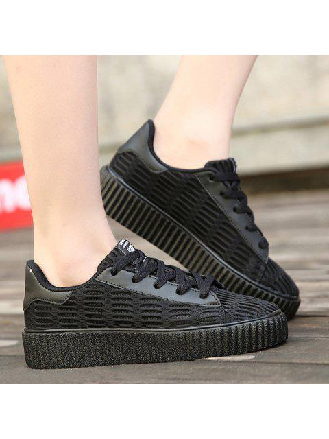 buy Tie Up Mesh Breathable Athletic Shoes - BLACK 39 Mobile