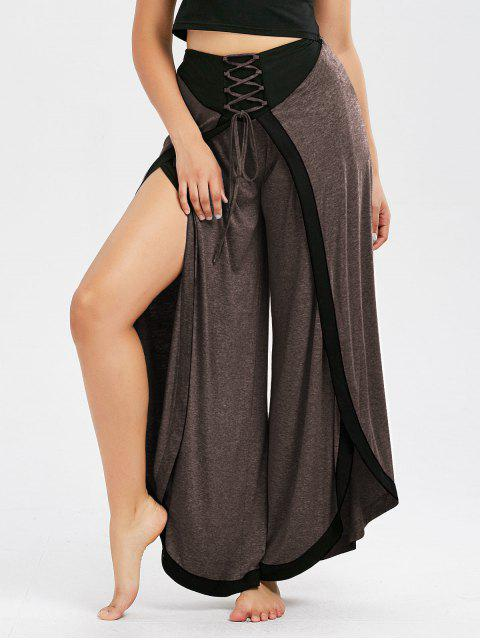 affordable Lace Up High Slit Palazzo Pants - COFFEE L Mobile