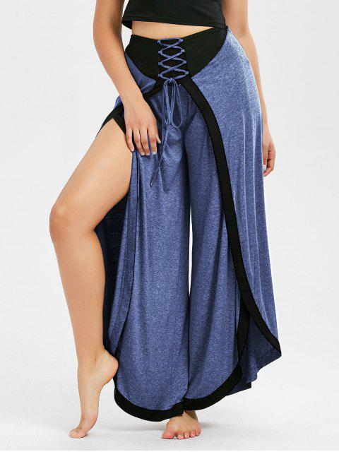 ladies Lace Up High Slit Palazzo Pants - CORNFLOWER M Mobile
