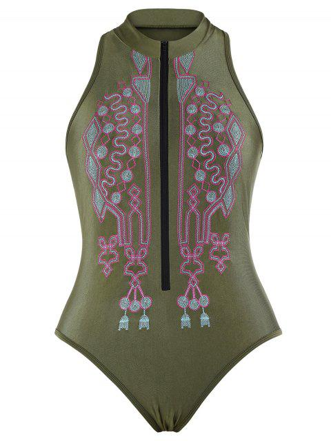 ladies Zipper Fly Embroidered Plus Size Swimsuit - BLACKISH GREEN 2XL Mobile