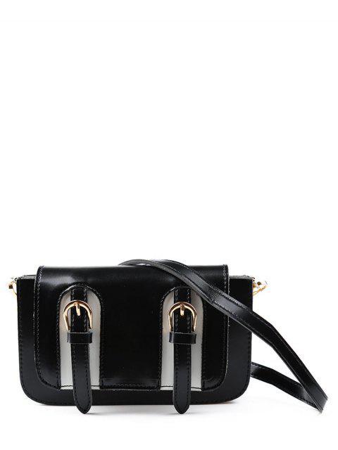 lady Twin Buckles Mini Cross Body Bag - BLACK  Mobile