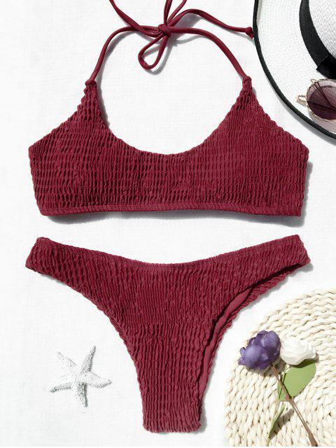 Conjunto de bikini bralette con falda acolchada - Rojo M Mobile