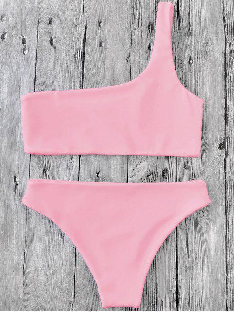 Ensemble de Bikini à Une Epaule - Rose  L Mobile