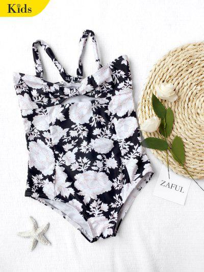 Back Tied Cut Out Floral Kid Swimwear - Black 6t