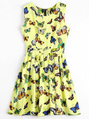 Back Zipper Butterfly Graphic Mini Dress - Jaune S