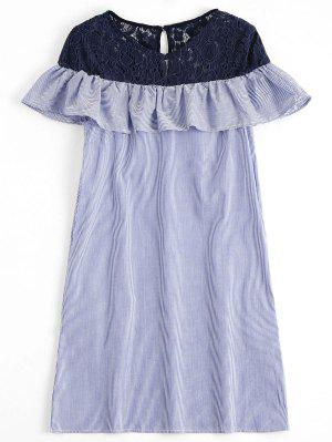 Lace Panel Stripes Constrasting Casual Dress - Stripe L