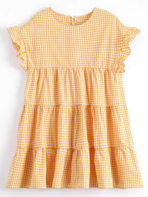 Mini Robe Droite Écossaise Drapée - Carré M