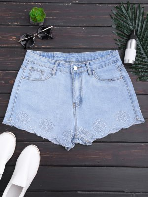Embroidered Scalloped Denim Shorts - Denim Blue M