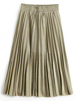 Metallic Color Shiny Midi Pleated Skirt - Golden M
