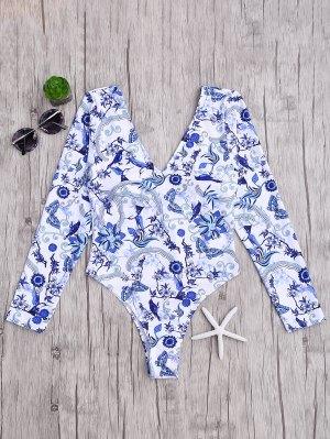 Rashguard Impreso Acolchado Traje De Baño De Una Pieza - Azul Y Blanco S
