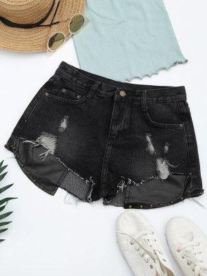 Pantalones Cortos Rasgados Del Dril De Algodón Del Panel De La PU De Los Cortes - Negro M