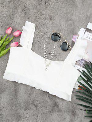 Ruffle Hem Sleeveless Crop Top - White S