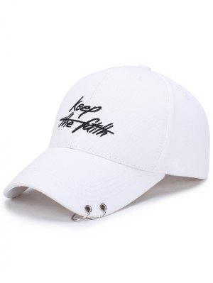 Double Metal Circle Letters Embellished Baseball Hat - Blanc