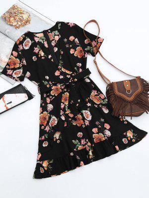 Vestido Con Escote Cruzado De Flores Con Volantes Con Cuello En V  - Negro S
