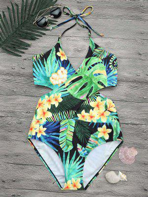 Plus Size Tropical Floral Wrap Swimsuit