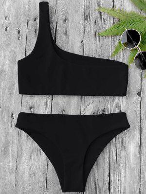 One Shoulder Bikini Set - Black L