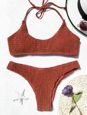 Padded Smocked Bralette Bikini Set - Jacinth M