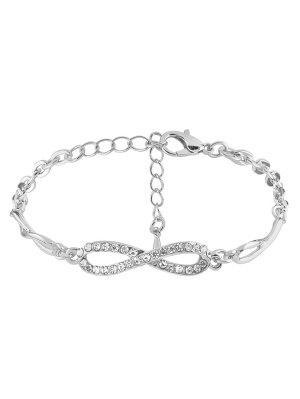 Rhinestone Infinite 8 Chain Bracelet - Silver