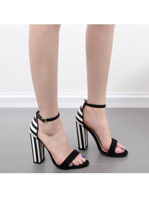 Striped Pattern Two Tone Sandals - Black White 40