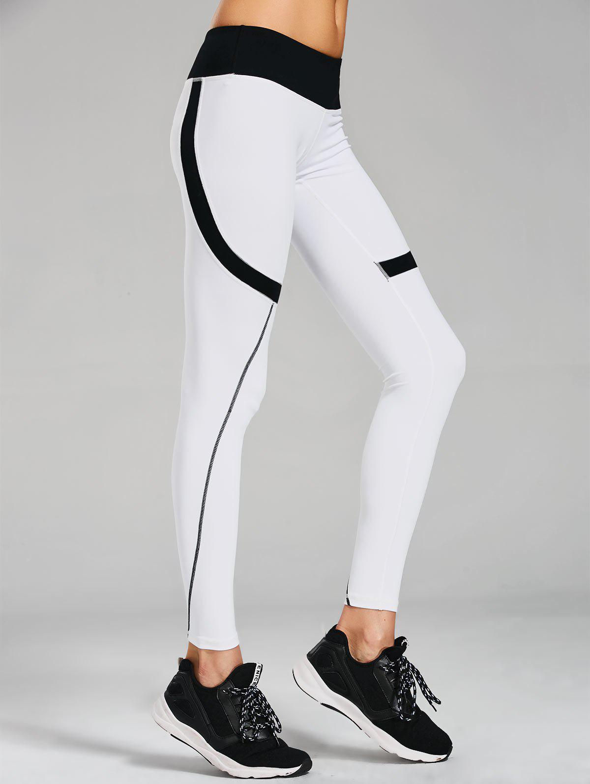 Sporty Stretchy Color Block Leggings 216719603