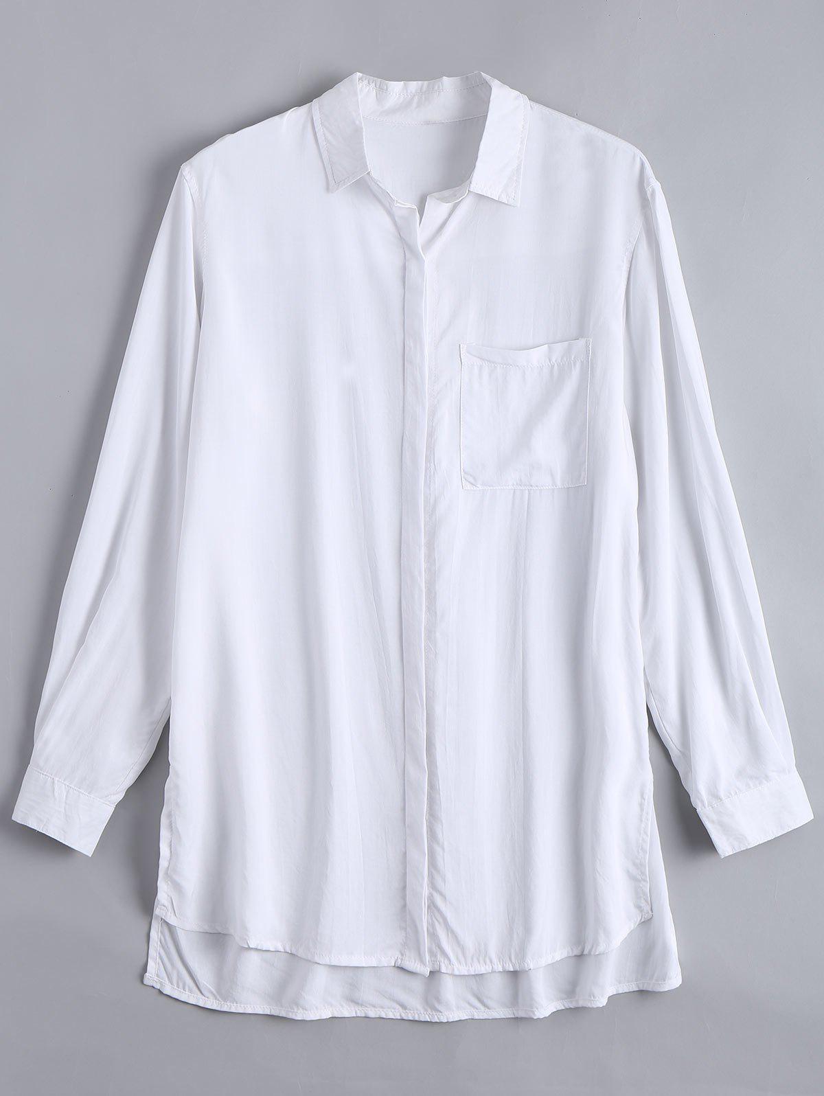 Lange hohe niedrige Bluse mit Schlitz