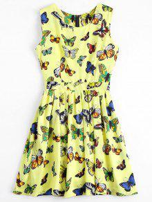 Volver Zipper Mariposa Mini Vestido Gráfico - Amarillo S