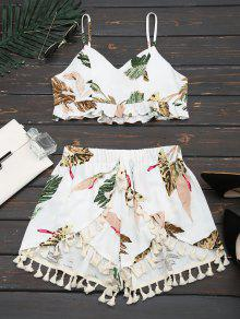 Cropped Ruffles Tropical Top And Tassels Layered Shorts - White M