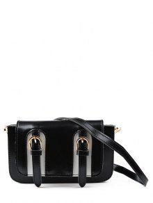 Twin Buckles Mini Cross Body Bag - Black