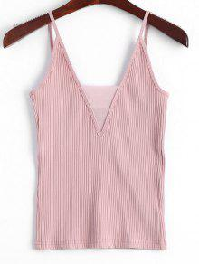 Knitted Voile Panel Ribbed Tank Top - Pink S