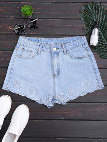 Shorts Denim Scalloped Brodés - Denim Bleu S