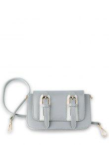 Twin Buckles Mini Cross Body Bag - Light Grey