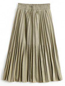 Buy Metallic Color Shiny Midi Pleated Skirt - GOLDEN L